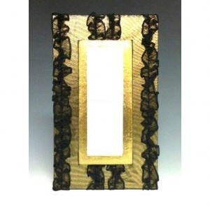 Art Deco Gold Lame and Black Lace Photo Booth Photo Frame