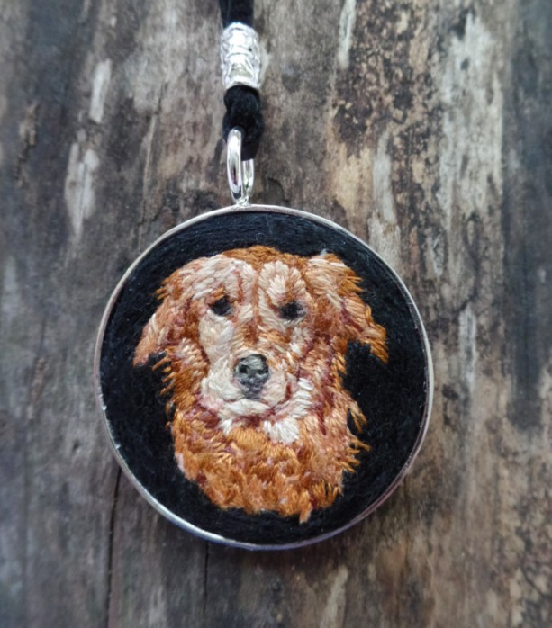 Golden Retriever hand Embroidered Necklace