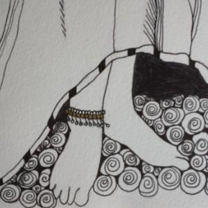 Golden Rose Ink & Paint Illustration