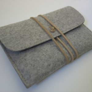 Gray wool felt Kindle Paperwhite case with natural leather strap