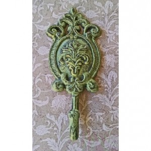 Shabby Chic Ornate Apple Green Metal Wall Hook