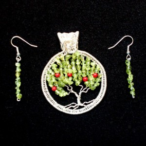 "Green Peridot Apple Tree of Life Silver Wire Wrap Pendant with Genuine Coral ""Apples"" and FREE Matching Earrings!"