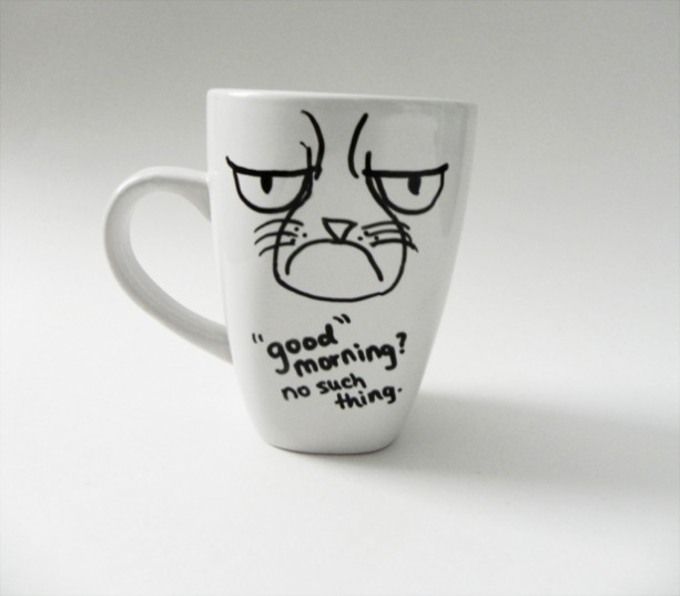 grumpy cat - good morning? no such thing. - mug // hand-drawn/written