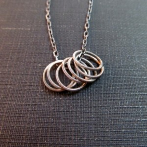 Guitar String Necklace // Minimalist Ring Necklace // Sterling Silver Guitar String Necklace with Rings