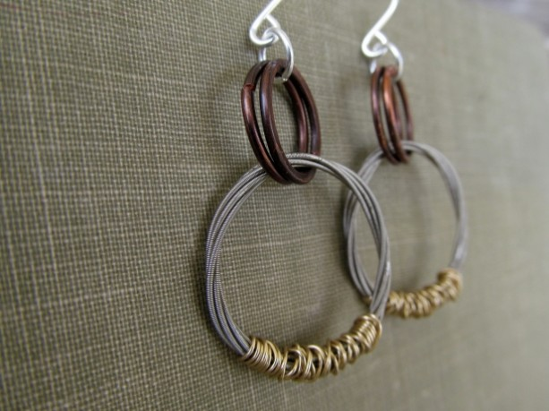 Guitar String Hoop Dangle Earrings Salvaged Guitar