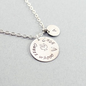 Love message necklace, custom engraved necklace with an owl, sterling silver, initial charm