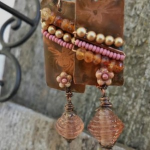 Beaded Copper Gypsy Earrings with Insect motif