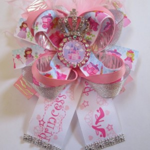 Handmade Boutique Princess And Crown Pink Girls Hair Bow