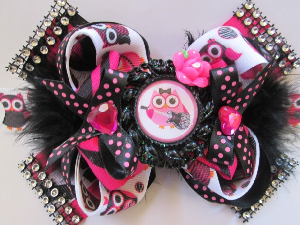 Zebra Rock And Roll Owl Black And Pink Girls Hair Bow