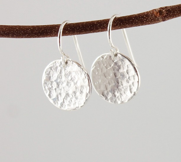 Handmade Sterling Silver Earrings Hammered Disc Earring Simple