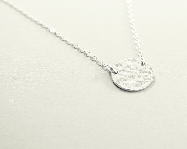 Sterling silver necklace, hammered disc necklace, textured