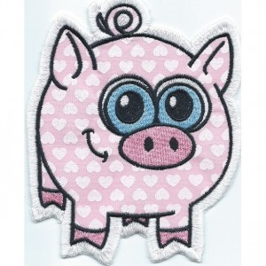 Happy Pig 2 applique patches iron on machine embroidered