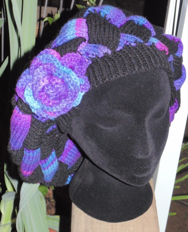 Knitted Womens entrelac Hat