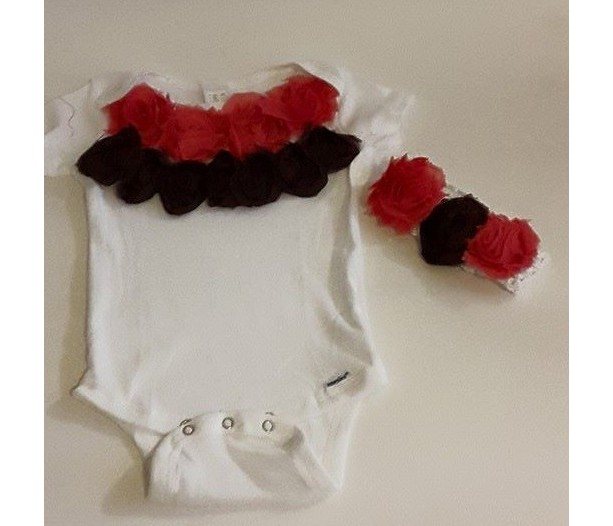 Pink and Brown Flower Onesie and Headband