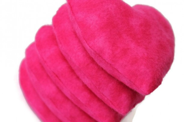 Heart Shaped Bean Bags Set Of 5 Hot Pink Flannel