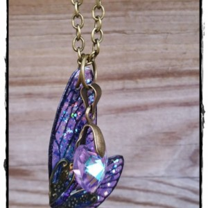 Lavender Cicada Wing Pendant and Crystal Heart in Bronze