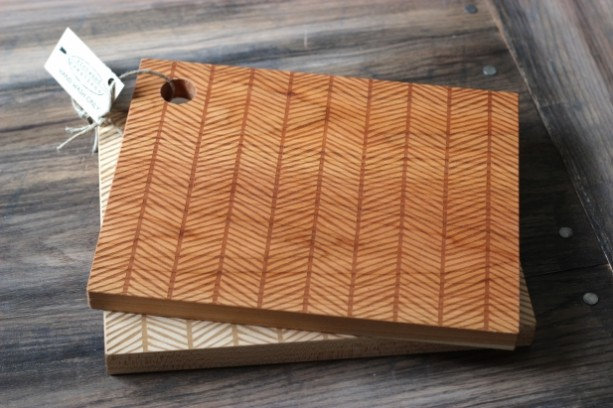 Herringbone Cutting Board Wood Engraved Modern Pattern 13 aftcra