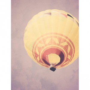 Hot Air Balloon - 8x10 photograph - fine art print - vintage photography - nursery art - purple sky - yellow balloon