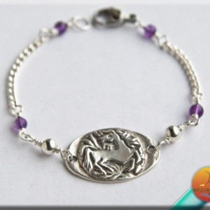 Silver and Steel Horse Bracelet
