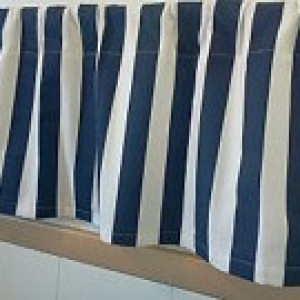 Navy Blue and White Striped Valances