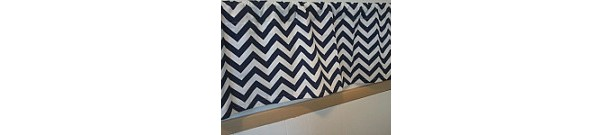 Navy Blue and White Chevron Valance