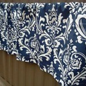 Navy Blue and White Damask Valances