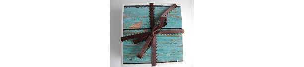 Shabby Chic, Barn Wood, Nautical Look Set of 4 Drink Coasters, Great Housewarming or Wedding or Bridal Shower Gift