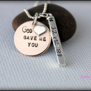 God Gave Me You Gold Filled and Sterling Silver Personalized Hand Stamped Necklace