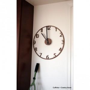 Unique Naked Wood Wall Clock. Cutout walnut clock, modern mid-century style. 15