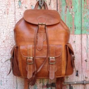 Large handmade Travel Leather Backpack