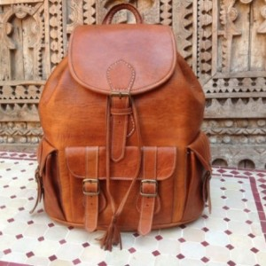 Large handmade Travel Leather Backpack