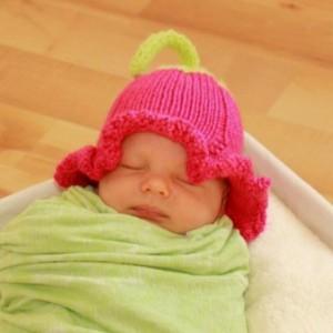 Spring flower baby hat