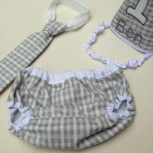 Gray Checkered Boys Cake Smash Outfit