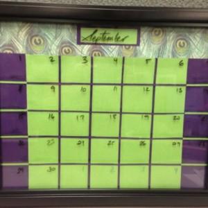 Peacock Dry Erase Calendar