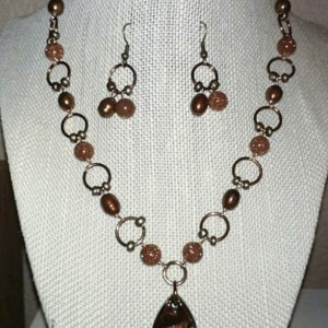 Red Rock Collection: Copper Pearl & Goldstone Necklace & Earring Set