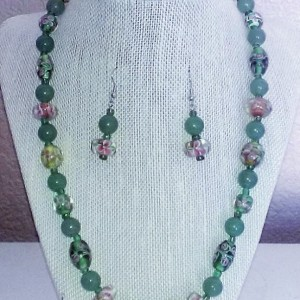 Floral Aventurine Necklace & Earring set