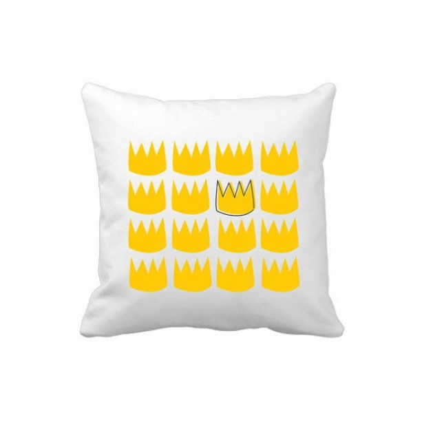 "King of the Wild Things - Crown Pillow Cover - 14""x14"" white pillow form case"