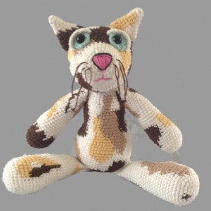 crochet calico cat, plush fiber art doll, eco-friendly, calming scent, wool stuffed, amigurumi, made to order