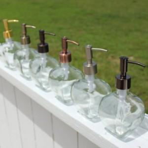 Noveau Glass Soap or Lotion Dispenser - Narrow Pump w/ Multiple Finishes