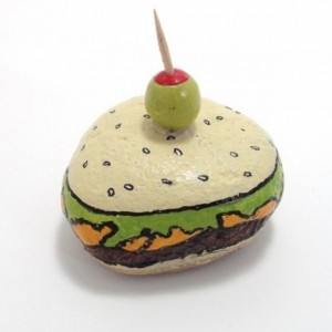 hamburger and olive / painted rock / paper weight