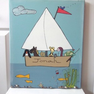 fishing with friends / hand painted and embellished personalized 16x20 canvas
