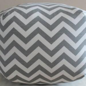 Pouf Ottoman Floor Pillow Grey Zig Zag