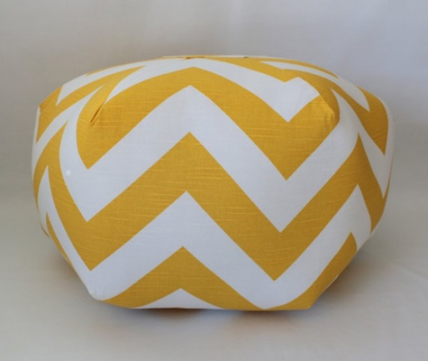 Ottoman Pouf Floor Pillow Yellow Chevron