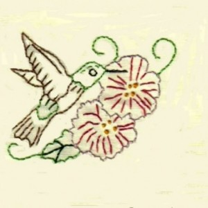 Embroidered Hummingbird/Trumpet Flowers Greeting Cards