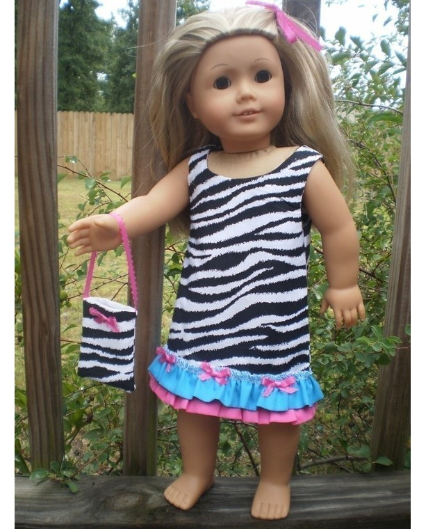 """American Girl Doll Dress, American Girl Doll purse, Zebra pink turquoise Dress, American Girl Doll Clothes, handmade 18"""" doll clothes"""