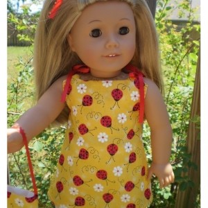 """American Girl Doll Clothes, Pants Purse Shirt, Ladybug and White, American Girl Doll Pants, 18"""" Doll Pant and Purse, Handmade Doll Clothes"""