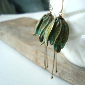 Green Tulip Flower Earrings