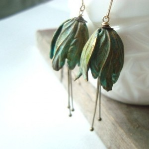 Green Tulip Flower Earrings