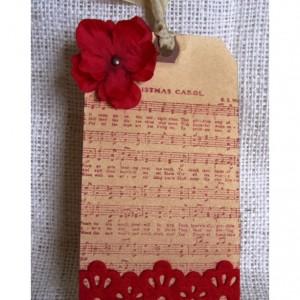 Aged Gift Tags Christmas Carol Music, felt lace