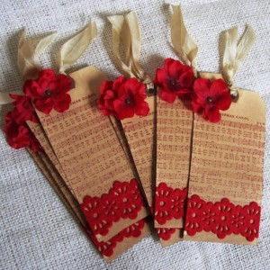 Aged Gift Tags Christmas Carol Music, felt lace